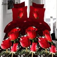 JaneYU 4 Stücke könig größe Luxus 3D Rose bettwäschesätze Rote farbe Bettwäsche Tröster Abdeckung Set bettlaken Kissenbezug für hochzeit