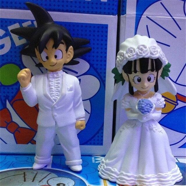 2pcs/lot Dragon Ball Z Goku and ChiChi Wedding Figures PVC Action ...