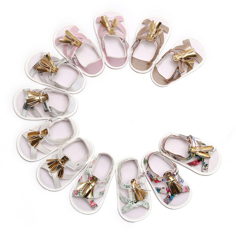 2018 New Baby Boys Girls Shoes Soft Tassel Sandals Toddler Slip-On Shoes Summer Baby PU Leather Sandals