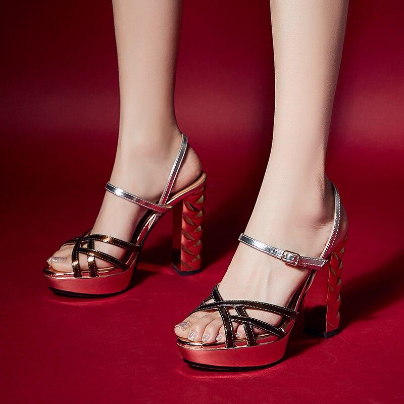 Arden Furtado 2019 sommer high heels chunky heels peep toe schnalle plattform mode gold sandalen partei schuhe größe 33 40 neue-in Hohe Absätze aus Schuhe bei  Gruppe 2