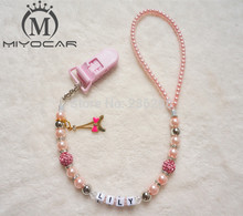 MIYOCAR Personalised -Any name Bling crystal hand made pacifier clips/soother chain Dummy clip/Teethers clip /pacifier holder