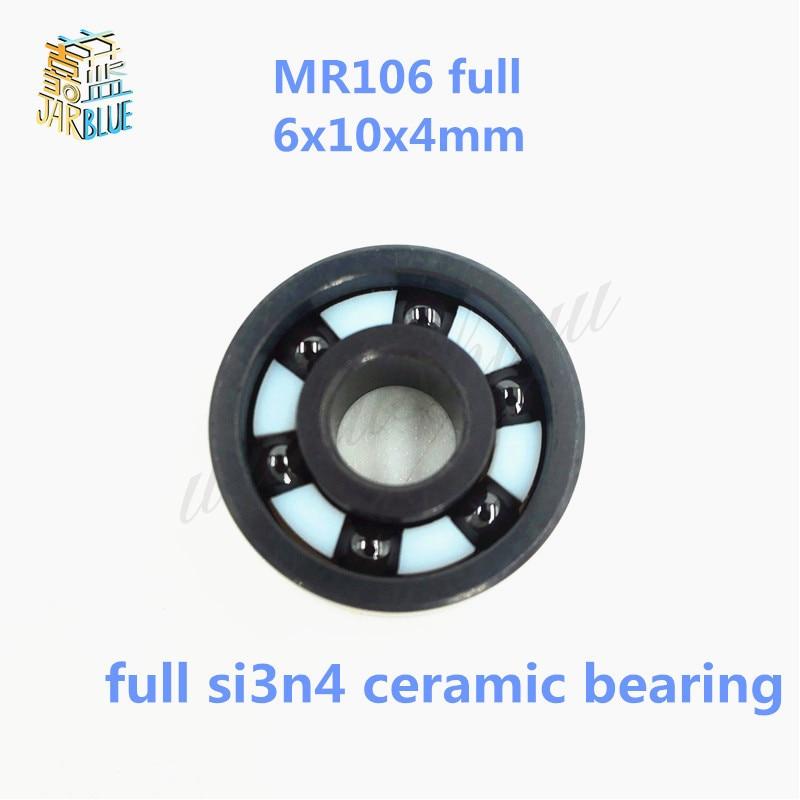 Free shipping MR106 full SI3N4 ceramic deep groove ball bearing 6x10x4mm high quality free shipping mr106 6 10 3mm full zro2 ceramic deep groove ball bearing 6x10x3mm high quality fishing bearing