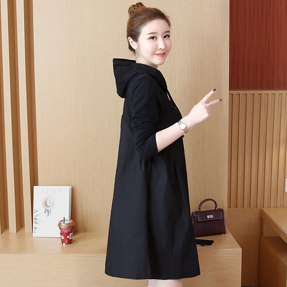 Spring and summer new style Mid-length stitching hooded dress Fall fashion new large size dress stitching 29