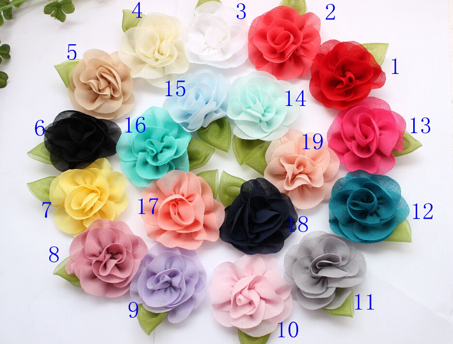 2.3 new coming chiffon flower with green leaf for DIY hair acessory headbands 18color flat back