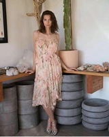 2018 высокое качество летнее женское платье Спагетти ремень v образным вырезом Sexy Платья для вечеринок леди Шелковый Цветочный принт Асиммет