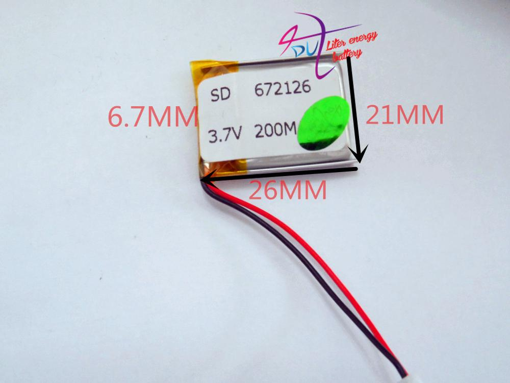 best battery brand 3.7V polymer lithium battery 672126 200mAH Bluetooth headset MP3 head ...