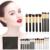 10 Pcs Pincéis de Maquiagem Profissional Ferramenta Pincel de Pó Fundação Para O Rosto Beleza Com Caso Bolsa de Maquiagem Preta FE #8