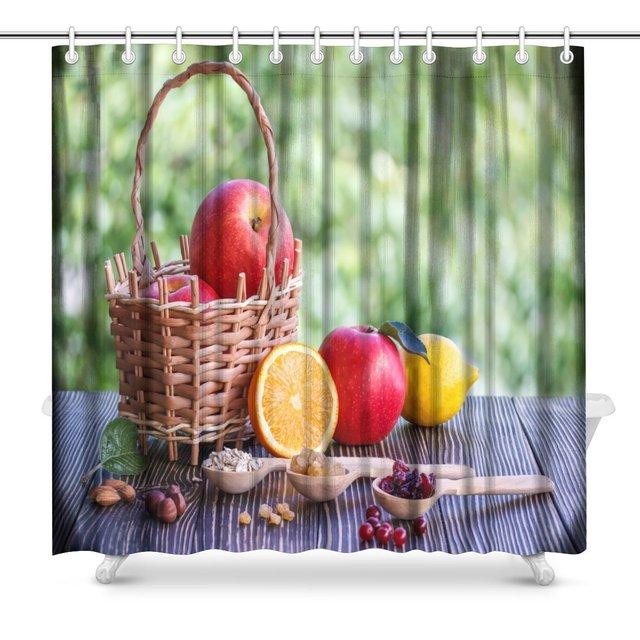Apples Orange Nuts Cranberry Lemon Muesli And Raisins Polyester Fabric Bathroom