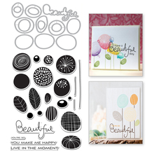 YaMinSanNiO Circle Flower Leaf Metal Cutting Dies and Clear Stamps Beautiful Letter Scrapbooking For Card Making Embossing Craft