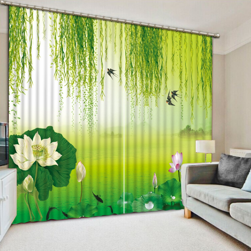 Pastoral Style 3D Window Curtains For Living Room Bedroom Pond Landscape  Blackout Curtain Green Curtains