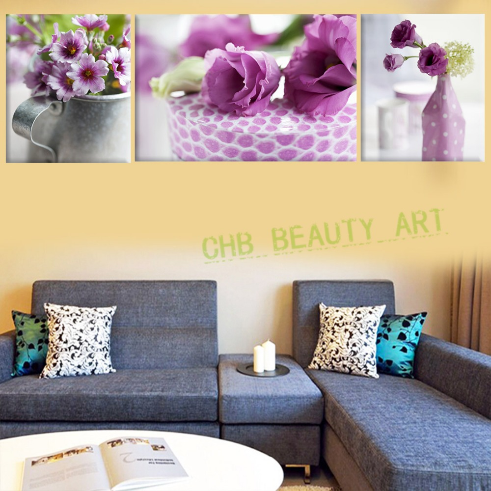 3 Piece Canvas Wall Art Modern Purple Flower Canvas Paintings For ...