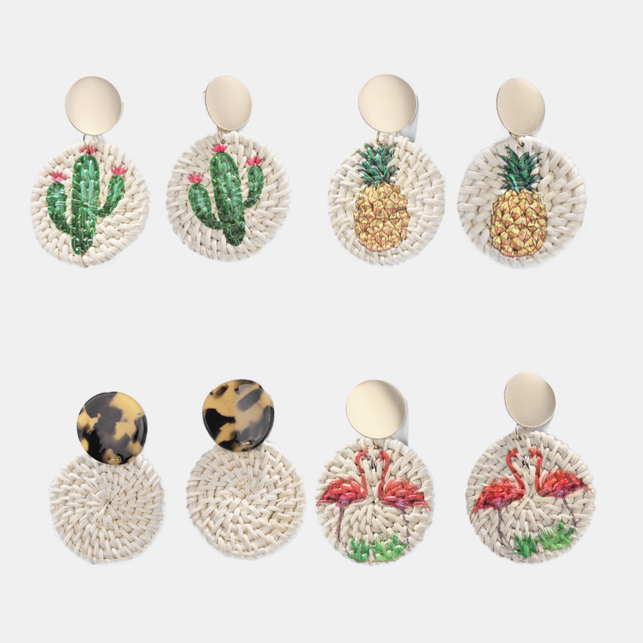 Bohemian Handmade Wooden Straw Weave Rattan Statement Earring For Women Trendy Pineapple Flamingo Printed earrings Round Jewelry