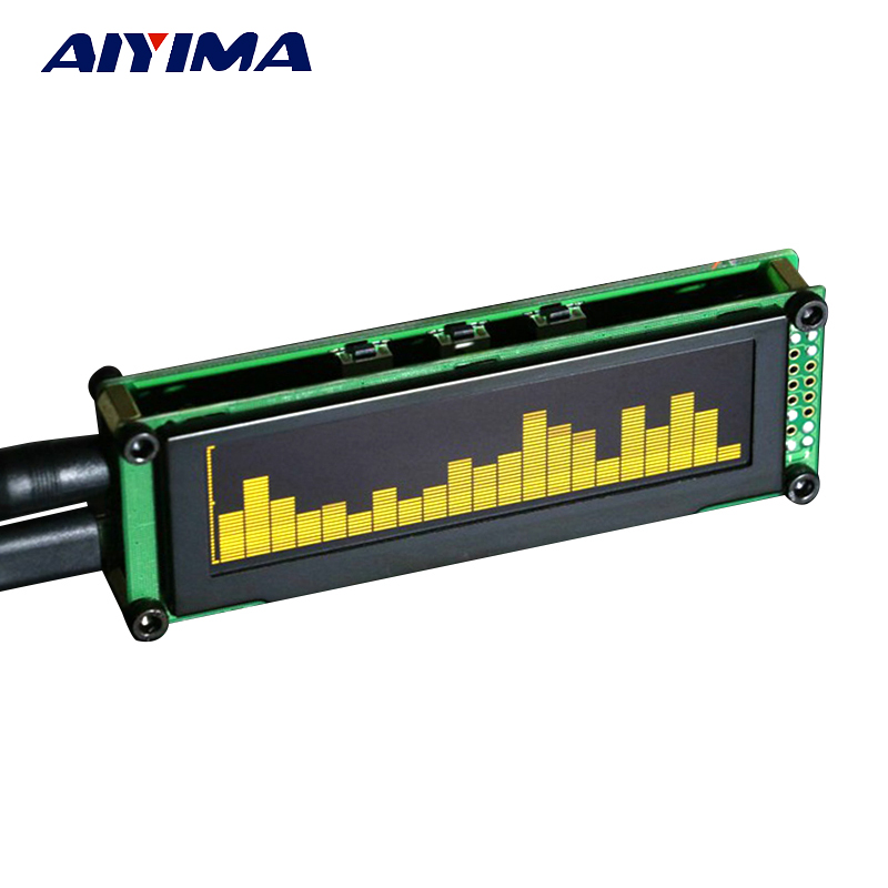 Aiyima OLED Musik Audio Spectrum Indikator Desktop MP3 PC Forstærker Hastighedsjusterbar AGC Mode 15 Niveau