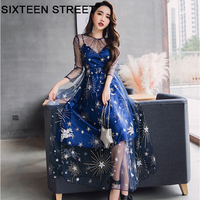 Fashion star moon embroidery blue dress woman long sleeve round neck spring summer beach maxi dresses female