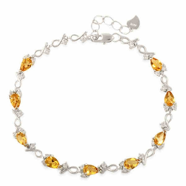 Real 925 Sterling Silver Natural Semi-precious Stone Women's Yellow Citrine Bracelets Wedding & Engagement Jewelry Free Shipping