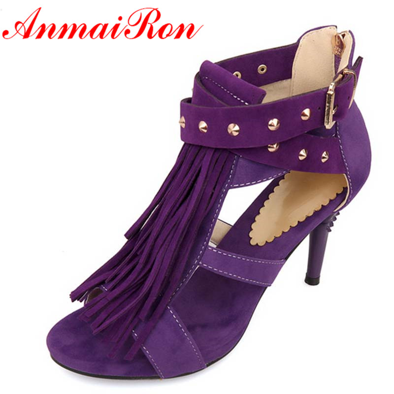 ENMAYER  2014 womens sandals tassel high-heeled black purple red blue wedding shoes summer oversized 34-43