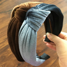 Solid twist gold velvet wide-brimmed fabric with bow cross tie cloth headband hair band headband headband hair accessories sequin twist headband