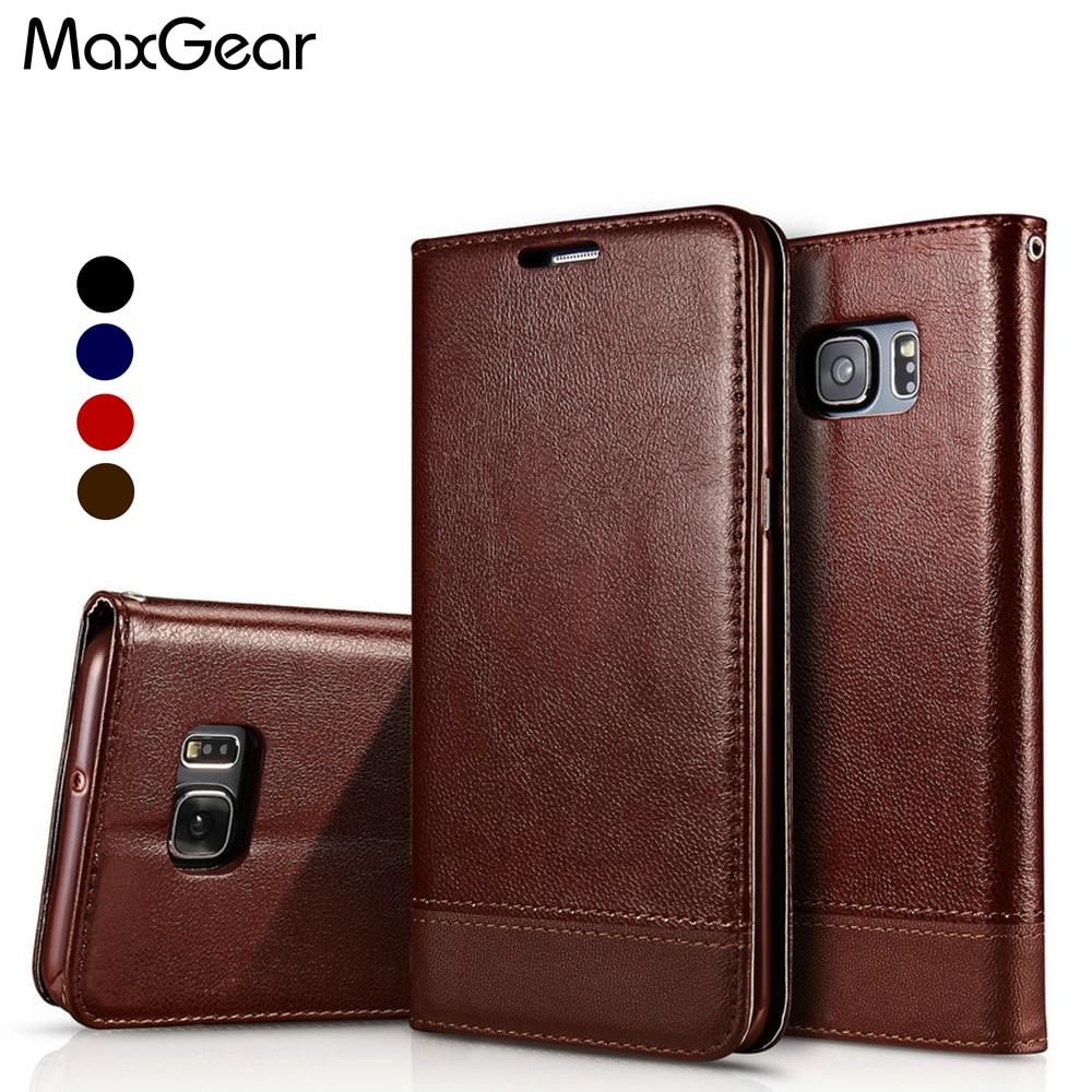 MaxGear Cas pour Samsung Galaxy S7/S7 bord De Luxe En Cuir portefeuille Flip avec Couverture de Stand pour Samsung S7 Bord Téléphone Cas