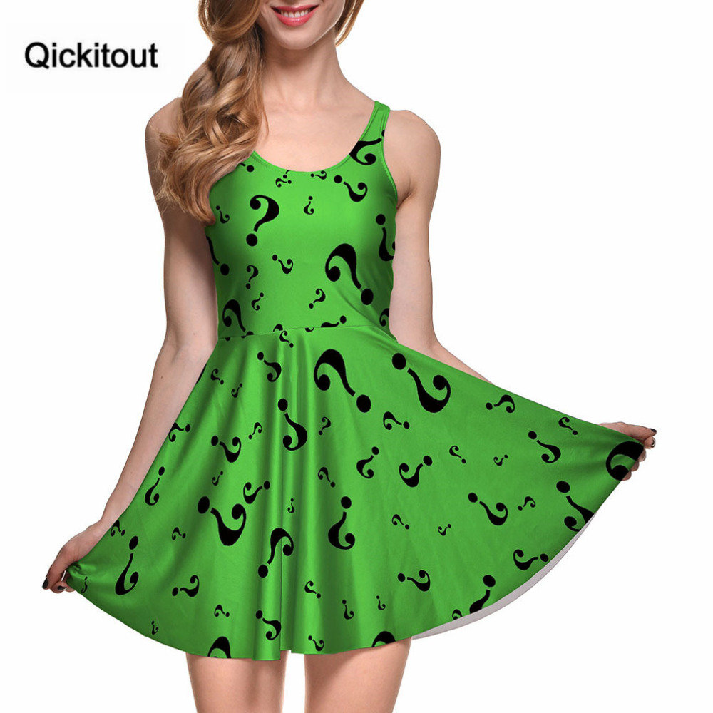 Drop Ship Fashion Women Digital Printing THE RIDDLER REVERSIBLE SKATER DRESS Vestidos Roupas Femininas Saias