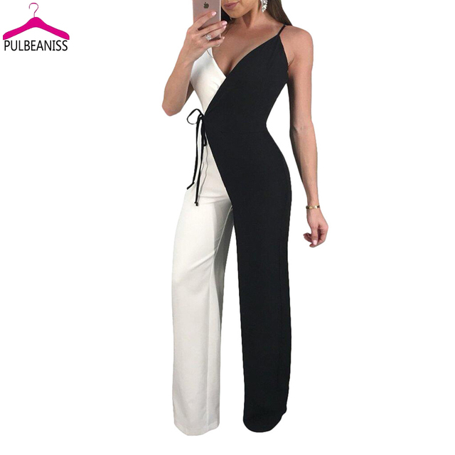 PULBEANISS 2018 Summer Womens Jumpsuits Sexy strap Jumpsuit Fitness Romper v neck Femme Club long pant Slim Night sleeveless