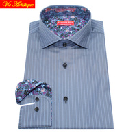 Dress Shirt Long Sleeve Shirt Men Business Shirts Middle Grey Blue Striped Slim Fit Casual Work