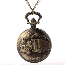 Cindiry Antique Retro Bronze Car Truck Pattern Quartz Pocket Watch Necklace Pendant Gift With Chain P20 2 colors pocket watch necklace jewelry antique eagle wings quartz pocket watch necklace pendant chain clock gift ll 17