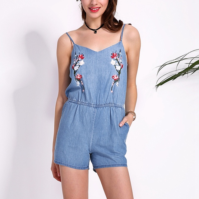 ecda2fdfaa5 Overalls 2018 Summer Rompers Womens Jumpsuits Vintage Embroidery Bodysuits Sexy  Ladies Sleeveless Backless Casual Playsuits