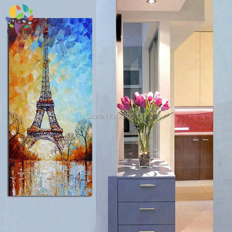 handmålad palettkniv oljemålning Eiffeltornet vitblått paris - Heminredning - Foto 5
