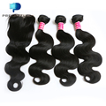 Thick Unprocessed 8a Brazilian Body Wave Human Hair with Closure Rosa Hair Products Brazilian Virgin Hair 3 Bundles with Closure