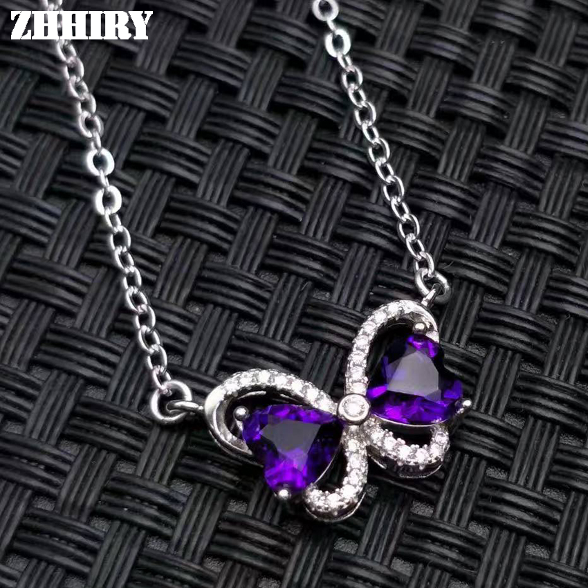 Women Natural Purple Amethyst Necklace Pendant Genuine Solid 925 Sterling Silver Fine Gemstone Jewelry цена и фото