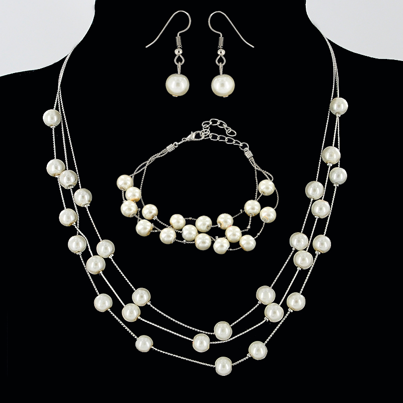 7b11db8af902 Alta calidad elegante simulado perla de la joyería collar de múltiples  capas pulseras con Pendientes de gota para las mujeres