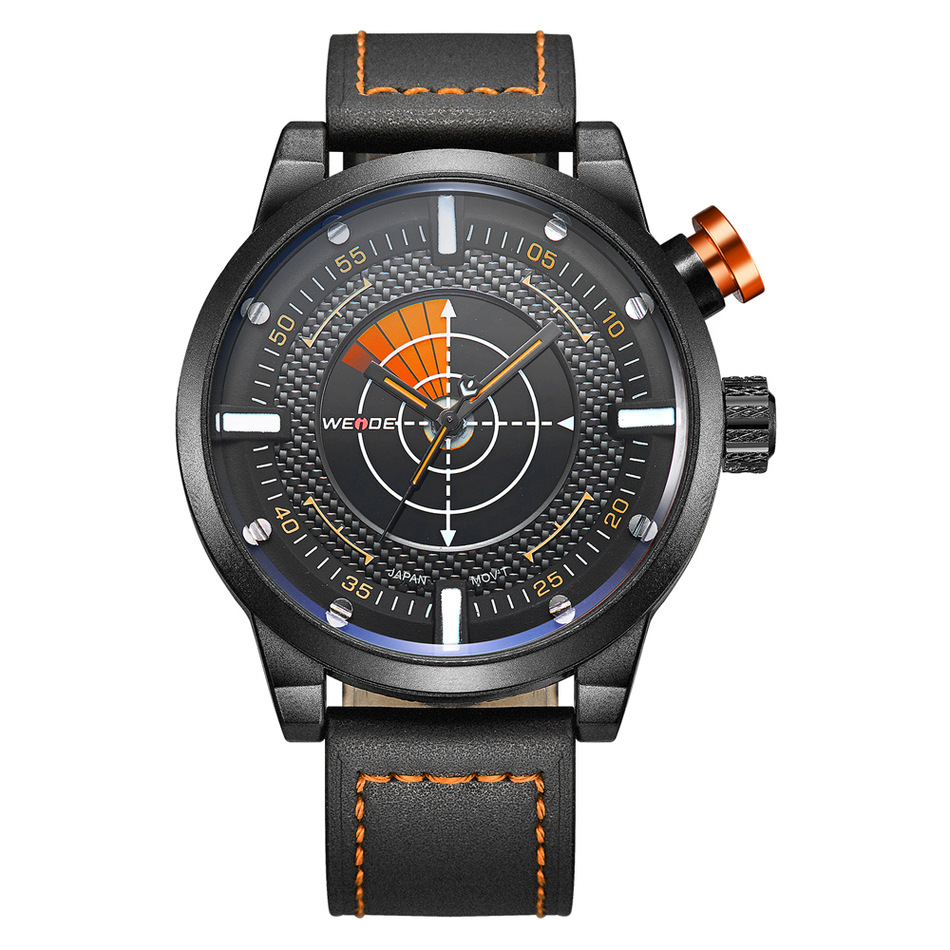 New Luxury Brand WEIDE Watch Men Waterproof Military hodinky Leather Belt Fashion Male Quartz  Sports Watches Erkek Kol Saati weide new men quartz casual watch army military sports watch waterproof back light men watches alarm clock multiple time zone