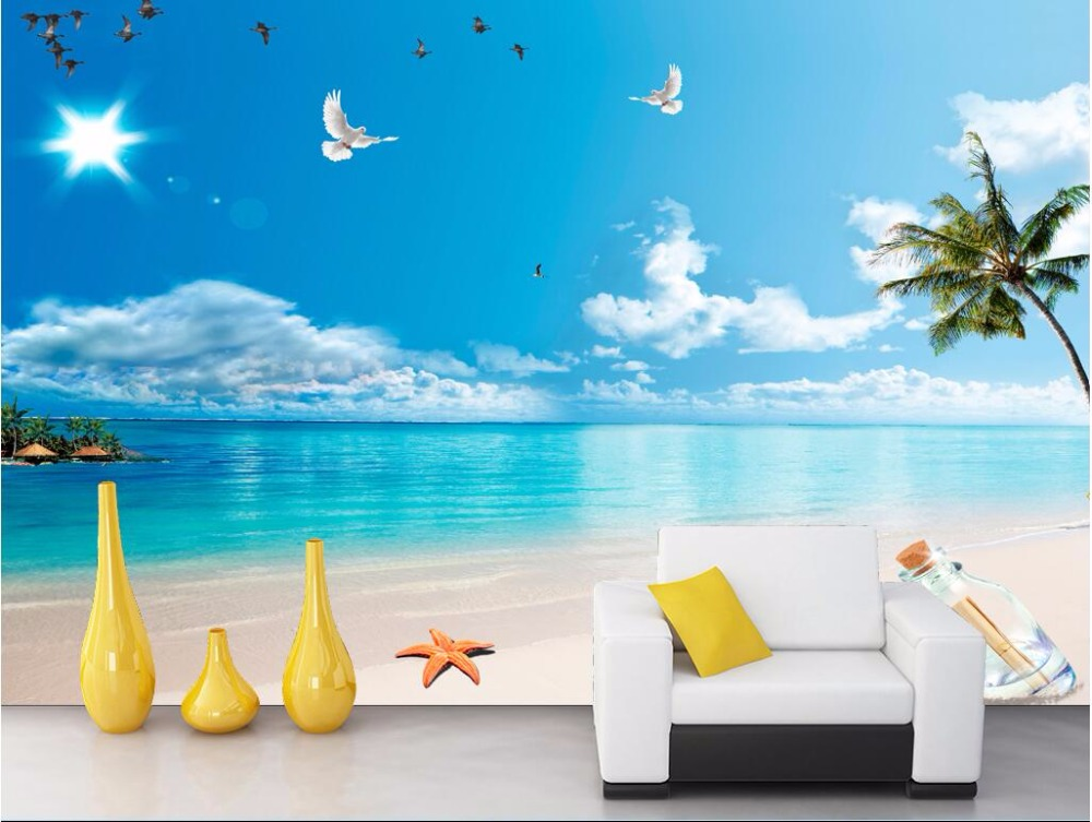 Custom photo designs 3d wall murals wallpaper Sea beach blue sky and white clouds decor picture wallpapers for living room beibehang custom wall paper 3d white european carved blue sky white clouds ceiling ceiling murals background