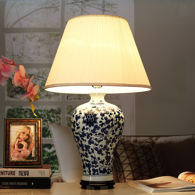 Art Chinese Porcelain Ceramic Table Lamp Bedroom Living Room Wedding Jingdezhen Shades For