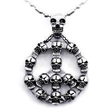 Hombres de la joyería del motorista plata hombres cráneo signo de la paz colgante de acero inoxidable collar de collar hombres niños regalos