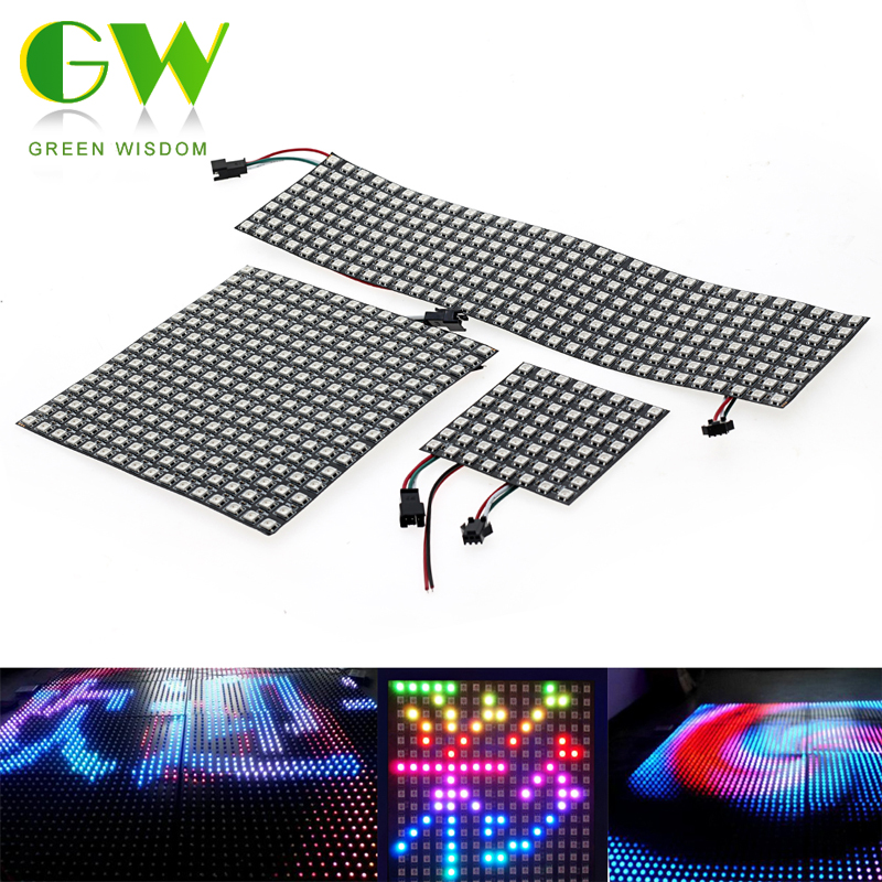 5050 RGB WS2812 Full Color Display Board DC5V 8*8 / 16*16 /8*32 64 256 LEDs Addressable Flexible Pixel Panel Screen 5050 rgb ws2812 full color display board dc5v 8 8 16 16 8 32 64 256 leds addressable flexible pixel panel screen
