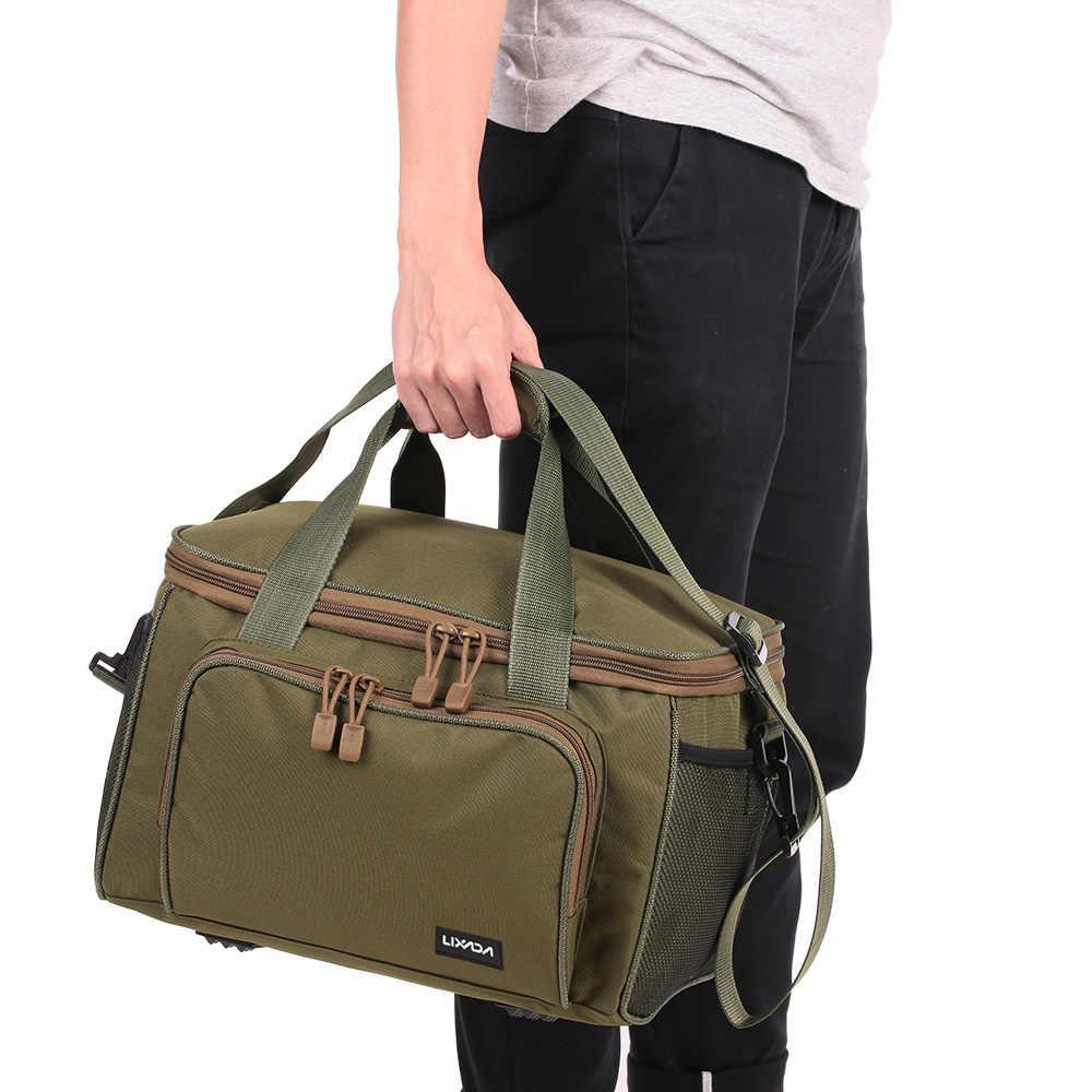 Lixada Portable Canvas Fishing Shoulder Tackle Bag Pack Fishing Lure Reel Bag