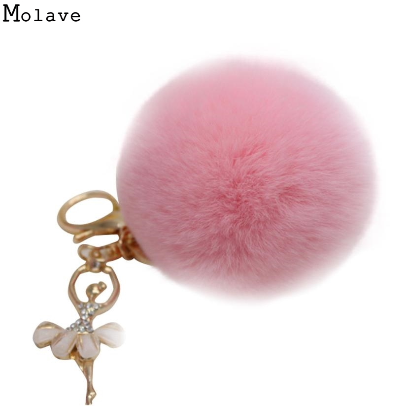 Bag Accessories Artificial Rabbit Fur Girl Fluffy Rabbit Fur Ball Keychain Car Bag Chain Ring Decoration For Purse Bag D30A27