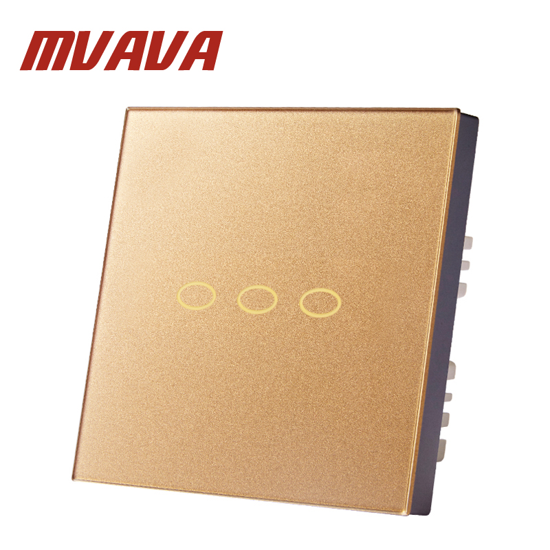 MVAVA EU/UK Standard Control Switches 3 Gang 2 Way Wireless Control Wall Touch Switch Rose Gold Crystal Glass Switch Panel funry eu uk standard 1 gang 1 way led light wall switch crystal glass panel touch switch wireless remote control light switches