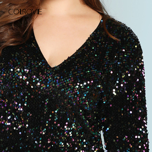 Image 4 - COLROVIE Plus Größe Schwarz V ausschnitt Pailletten Mädchen Sexy Kleid Frauen 2018 Herbst Langarm Party Kleid Elegante Abend Mini kleider