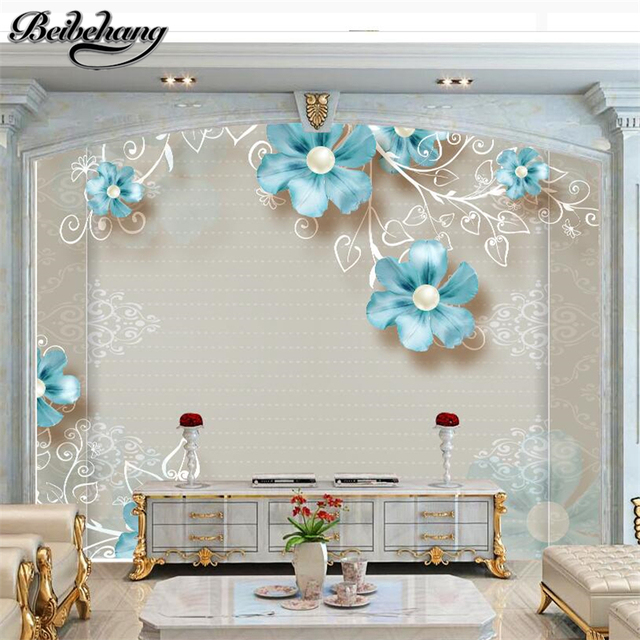 beibehang Custom 3d fresh European pattern jewelry flower blue flower three - dimensional flower jewelry background wallpaper