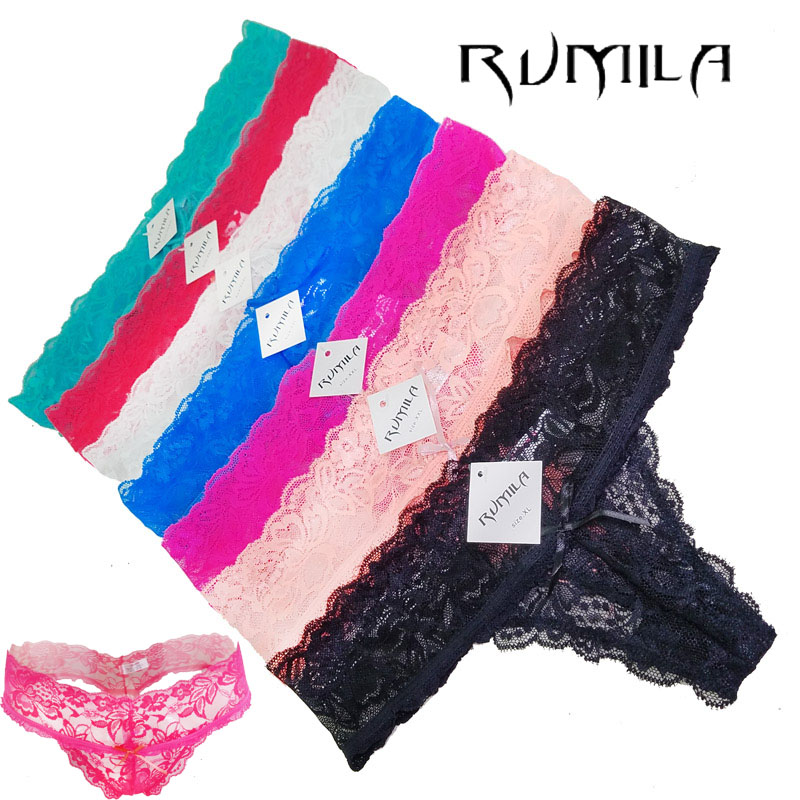 XXXXL XXXL Big Size 7 Colorful Solid Lace Flower Sexy Women Thongs G-string Underwear Panties Briefs Ladies T-back Lingerie Ah20