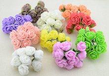 Мини-цветок венки букет pe розы искусственный свадебный пены многоцветный декоративные глава