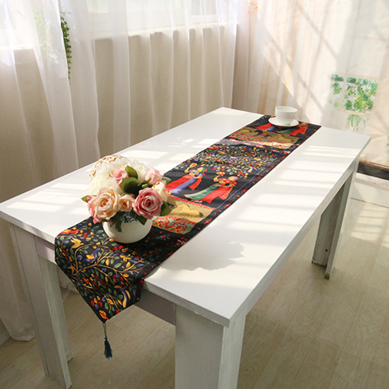caminos de mesa camino de mesa de lino patrn clsico negro y rojo toalha de mesa