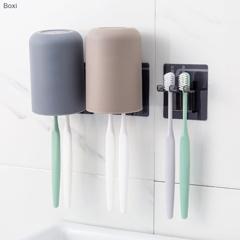 Boxi Toothbrush Cup Holder Wall Mounted Suction Hooks With Cups Punch Free Toothbrush Storage Cover Stand Bathroom Accessories