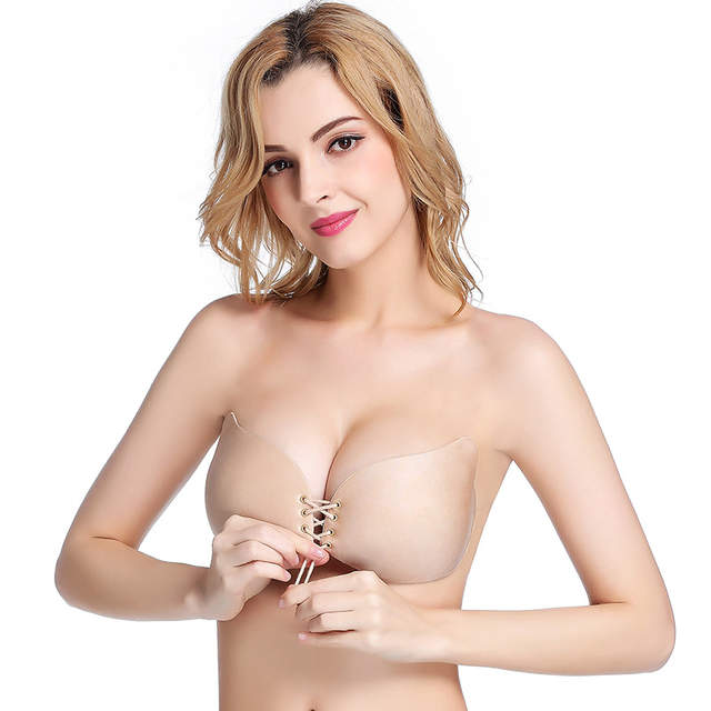 c5f673d9cf4da placeholder Lace Up Self Adhesive Invisible Strapless Push Up Bra Top  Sticky Gel Silicone Bralette Sexy Deep