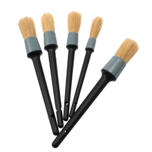 5Pcs Car Detailing Brush Cleaning Natural Boar Hair Brushes Auto Detail Tools Wheels Dashboard Car-styling Accessories