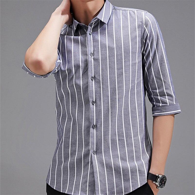 VISADA JAUNA 2018 nueva 100% de alta calidad de manga corta Camisa de los hombres de moda Casual de los hombres camisas de rayas de algodón de los hombres camisas de vestir N8902