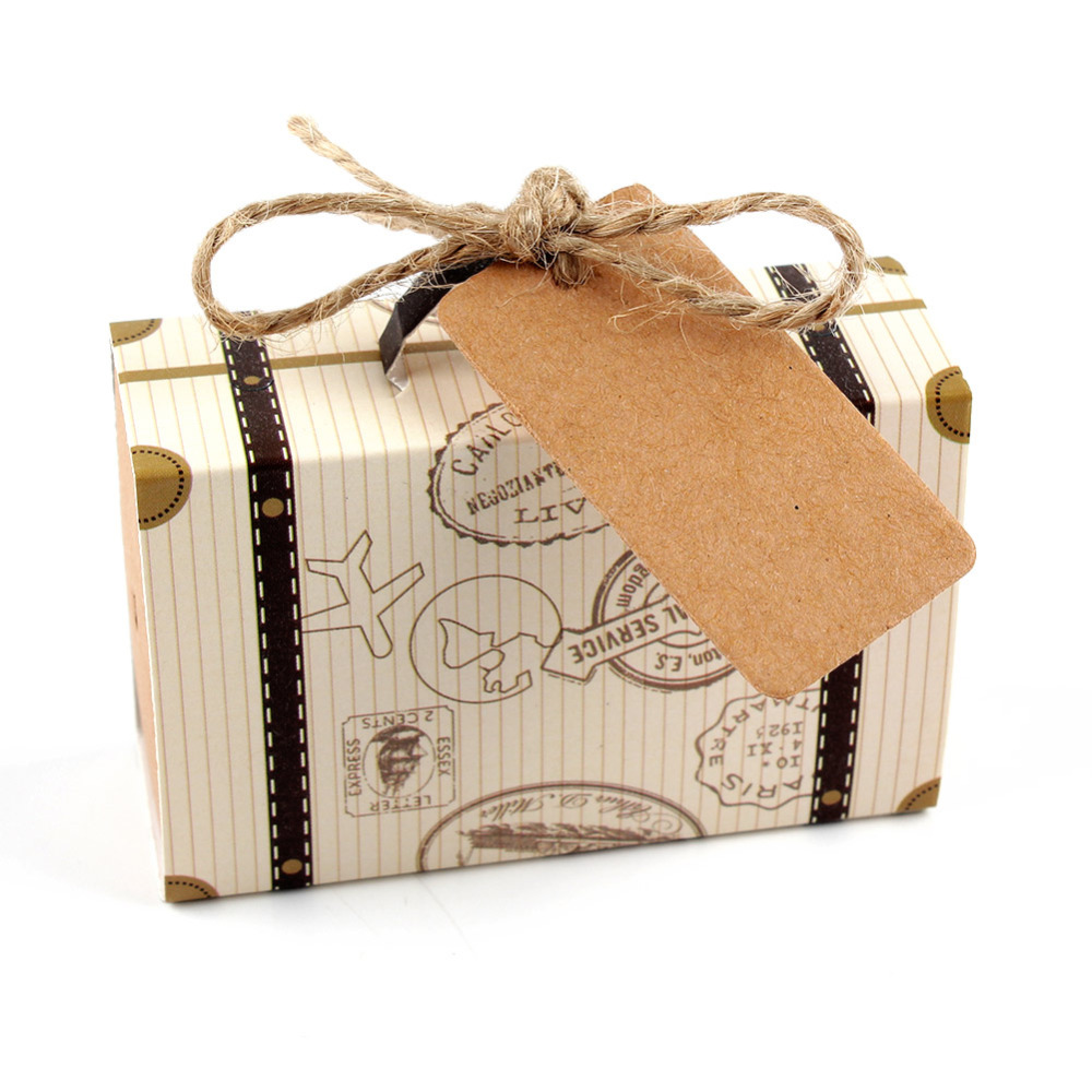 50 шт. мини-чемодан крафт-коробка конфет бонбоньерка свадебный подарок Коробки путешествия тематические вечерние Для Юбилей День рождения ... ...
