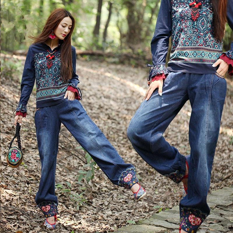 de Original pantalones Boho y mujer Vintage bordado AR0045Q Cotton Chic Pantalones para Denim Bohochic étnica Capris tallas grandes en China pantalón Harem BAPx1w1